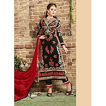 Saara Black And Red Embroidered Georgette Semi-stitched Salwar Suit