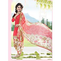 Saara Peach Pink And Off-white Coloured Printed Satin Glace Cotton Unstitched Dress Material