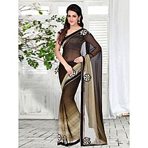 Black And Brown Embroidered Georgette Saree