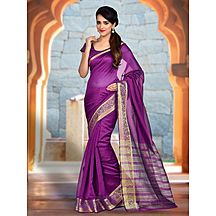 Shonaya Purple Colour Banarasi Art Silk Woven Work Saree With Unstitched Blouse Piece