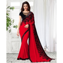 Shonaya Red Colour Georgette Embroidery Saree With Unstitched Blouse Piece