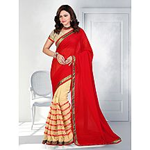 Shonaya Red & Beige Colour Embroidered Saree With Unstitched Blouse Piece