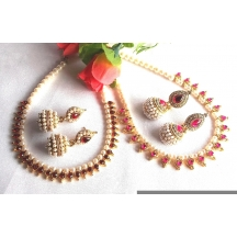Maroon And Pink Heart Pearl Gota Necklace Set