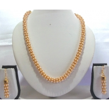 Golden And White Long Necklace Set With Pearls