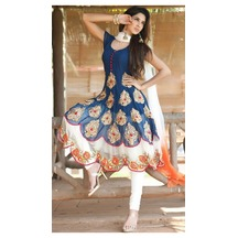 Frok Style Blue And White Embroidered Suit