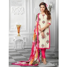 Delhi Belly_white Color Chanderi Dress Material With Printed Dupatta