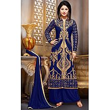 Latest Blue Georgette Embroideried Salwar Suit