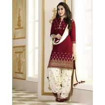 Li Te Ra(tm) New Patiyala Maroon Cotton Salwar Suit