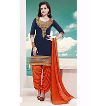 New Designer Blue And Orange Patiala Suit