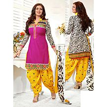 Latest Designer Pink And Yellow Patiala Suit