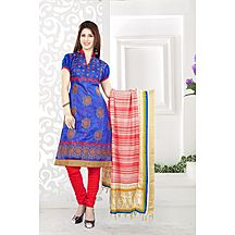 Li Te Ra Blue & Red Embroidered Chanderi Dress Material