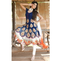 Li Te Ra (tm) Latest New Designer Navy Blue Peacock Style Anarkali Salwar Suit