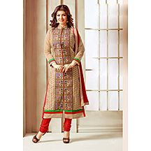 Li Te Ra New Designer Cream And Red Embroidered Salwar Suit