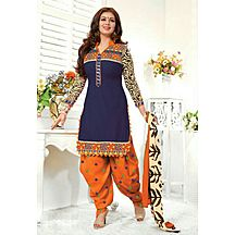 Latest Blue Designer Embroidery Worked Patiala Suit