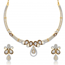 Sukkhi Dainty Peacock Gold And Rhodium Plated Cz Neklace Set For Women
