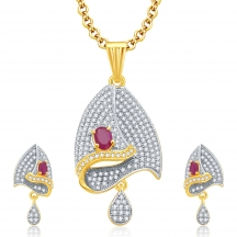 Sukkhi Enthralling Gold And Rhodium Plated Ruby Cz Pendant Set For Women