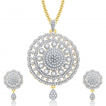 Sukkhi Fancy Gold And Rhodium Plated Cz Pendant Set For Women