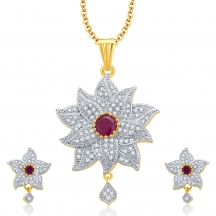 Sukkhi Floral Gold And Rhodium Plated Ruby Cz Pendant Set For Women