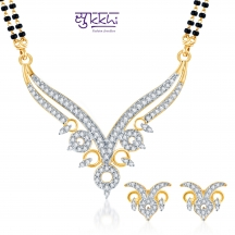 Sukkhi Ravishing Cz Gold And Rhodium Plated Mangalsutra Set (free Mala (18