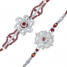 Sukkhi Rhodium Plated Set Of 2 Designer Rakhi Combo