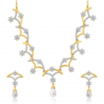 Sukkhi Floral Gold And Rhodium Plated Cz Neklace Set For Women