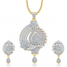Sukkhi Flawless Gold And Rhodium Plated Cz Pendant Set For Women
