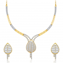 Sukkhi Lovely Gold And Rhodium Plated Cz Neklace Set For Women