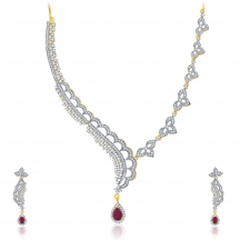Sukkhi Vivid Gold And Rhodium Plated Ruby Cz Neklace Set For Women