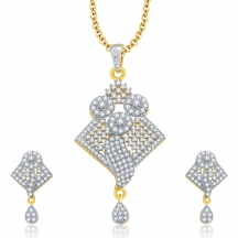 Sukkhi Bewitching Gold And Rhodium Plated Cz Pendant Set For Women