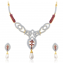 Sukkhi Dangly Gold And Rhodium Plated Ruby Cz Neklace Set For Women