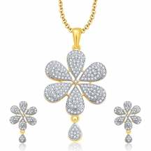 Sukkhi Magnificient Gold And Rhodium Plated Cz Pendant Set For Women