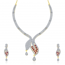 Sukkhi Glossy Gold And Rhodium Plated Ruby Cz Neklace Set For Women
