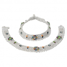 Taj Pearl Stylish Ethnic Silver Plated Anklets