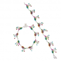 Taj Pearl Stylish Ethnic .925 Silver Plated Anklets