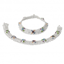 Taj Pearl Indian Ethnic Silver Plated Designer Anklets