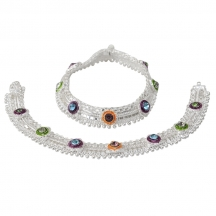 Taj Pearl .925 Silver Plated Indian Ethnic Anklets