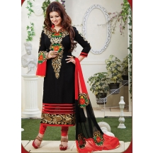 Thankar Black Cotton Embroidered Semi-stitched Straight Suit