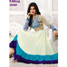 White Embroidered Georgette Dress Material
