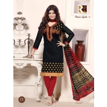Black And Red Embroidered Chanderi Cotton Semi Stitched Suit