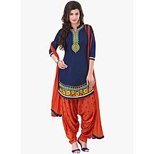 Blue Orange Beautyfull Cotton Patiala