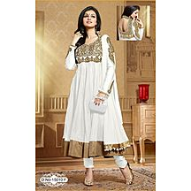 White Embroidered Net Anarkali Suit