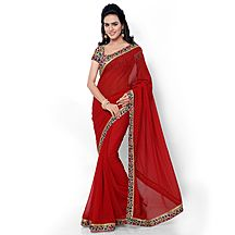 Florence Red Faux Georgette Embroidered Saree With Blouse - Sarees By Florenceclothingcompany