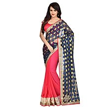Pink And Blue Patch Worked Georgette Saree