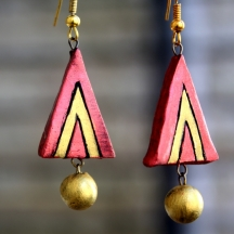Red-gold Triangle Terracotta Earring