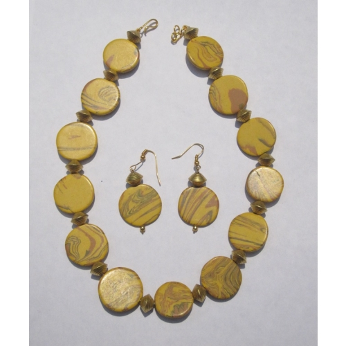 Yellow Round, Golden Bead Necklace