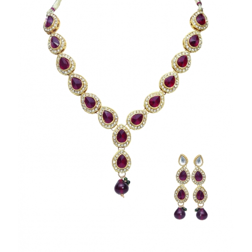 Maroon Full Leaves Necklace Set - Peacock Collection