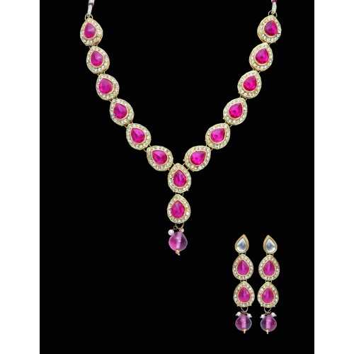 Rani Full Leaves Necklace Set - Peacock Collection
