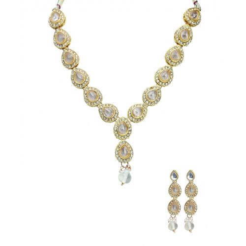 White Full Leaves Necklace Set - Peacock Collection