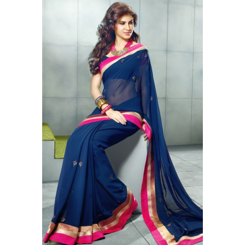 Fascinating Navy Blue Embroidered Saree