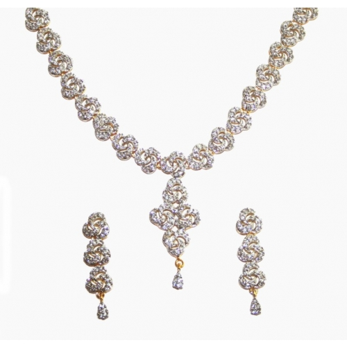 American Diamond Studded Necklace Set With Gold Platting